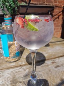 Copa glass filled with gin and tonic garnished with strawberries and apple